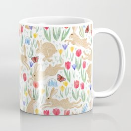 March hares in the spring meadow Coffee Mug