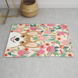 Welsh Corgi cute flowers spring summer garden dog portrait cute corgi puppy funny god illustrations Rug