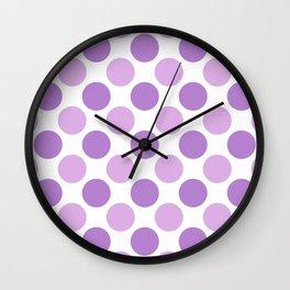 Lilac polka dots Wall Clock