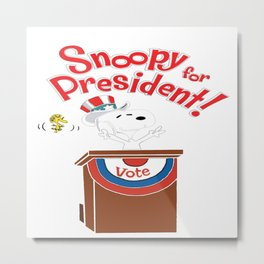 Snoopy For Presiden Metal Print