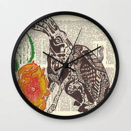 Jumpin' Jack Flash  (jack rabbit and cactus flower on dictionary page) Wall Clock