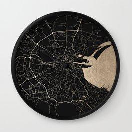 Black on Gold Dublin Street Map Wall Clock