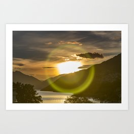 Golden Sunset on Queenstown and Lake Wakatipu Art Print