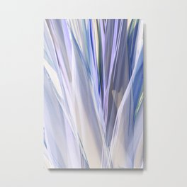 Blue and Violet Palm Leaves Abstraction Metal Print