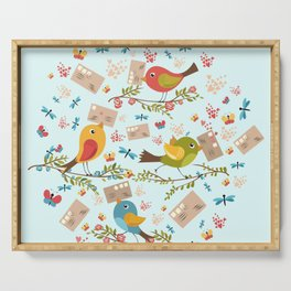 Special Springtime Delivery From Little Birds Pattern Serving Tray