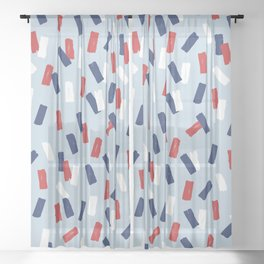 American confetti party minimal paper strokes 4th of July celebration pattern blue Sheer Curtain