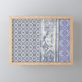 Tiles Angel Carrying Flowers Framed Mini Art Print