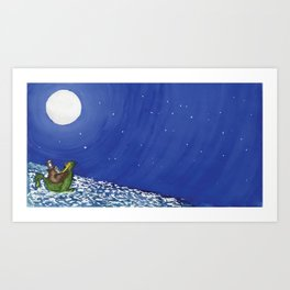 The owl looked up to the stars above Art Print