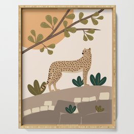 Cheetah on the rocks under the tree Serving Tray