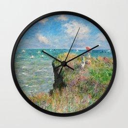 1882-Claude Monet-Cliff Walk at Pourville-66 x 82 Wall Clock