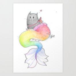 Rainbow Purrmaid Art Print