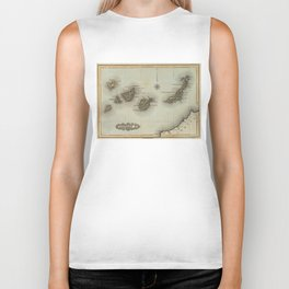 Vintage Map of The Canary Islands (1823) Biker Tank