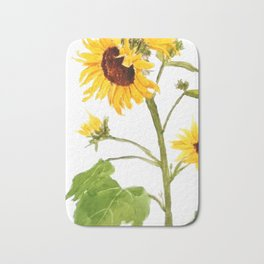 One sunflower watercolor arts Bath Mat