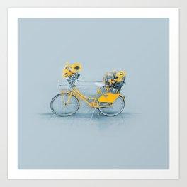 Yellow vintage bike with sunflowers Art Print