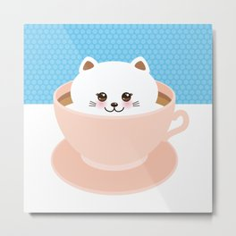 Cute Kawai cat in pink cup, coffee art Metal Print