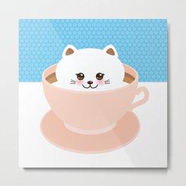 Cute Kawai cat in pink cup, coffee art Metal Print