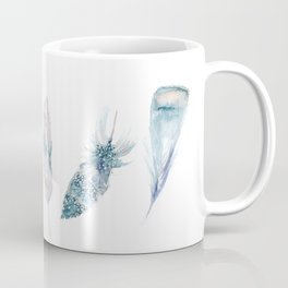 Watercolor feather collection in blue and pink Coffee Mug
