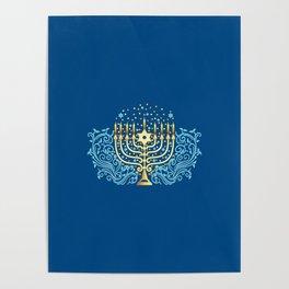 Golden menorah Hanukkah greeting festival of lights decoration  Poster