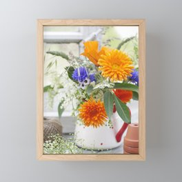 Natural flowers at the window Framed Mini Art Print