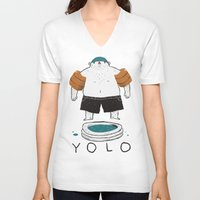 yolo V-neck T-shirts featuring yolo by Louis Roskosch