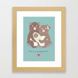 Papa bear & mama bear Framed Art Print