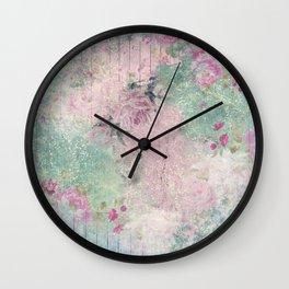 Shabby Garden Fence - Pink & Aqua Wall Clock