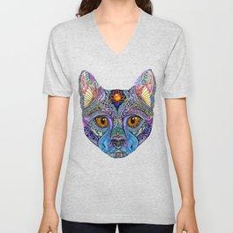 Mystic Psychedelic Cat Unisex V-Neck
