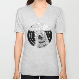 hairy havanese dog vector art black white Unisex V-Neck