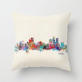 anchorage alaska skyline Throw Pillow