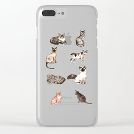 For cat lovers - watercolor of different cat breeds Clear iPhone Case