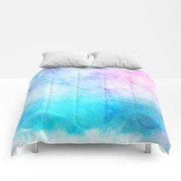 Turquoise Pink Watercolor Texture Comforters