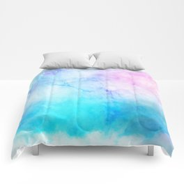 Turquoise Pink Watercolor Texture Comforters