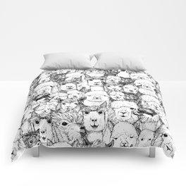 just alpacas black white Comforters