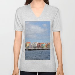 Colorful Houses of Willemstad, Curacao Unisex V-Neck