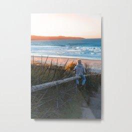 Boy Enjoying Sunrise Metal Print