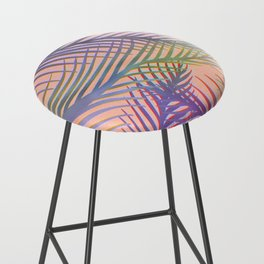 Palm Leaves Pattern - Purple, Peach, Blue Bar Stool