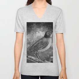 Watercolor Bird with a Berry (Black and White) Unisex V-Neck