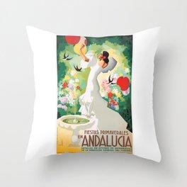 1941 SPAIN Andalucia Springtime Festivals Poster Throw Pillow