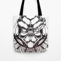 mass effect Tote Bags featuring Mass Effect. Garrus Vakarian by OneAppleInBox
