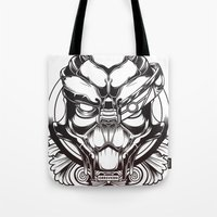 garrus Tote Bags featuring Mass Effect. Garrus Vakarian by OneAppleInBox
