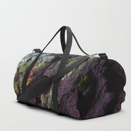 Natural Purple and Green Algae on Coastal Rocks Duffle Bag