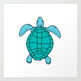 Sea Turtle Swimming Drawing Art Print