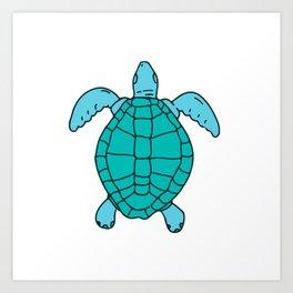 Sea Turtle Swimming Drawing Art Print