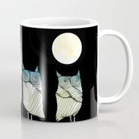 owls Mugs featuring Owls by Brontosaurus