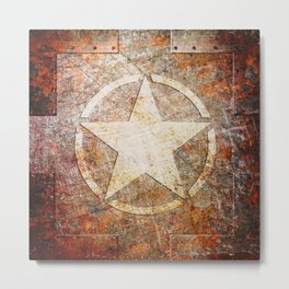 Army Star on Rusted Riveted Metal Plate Metal Print