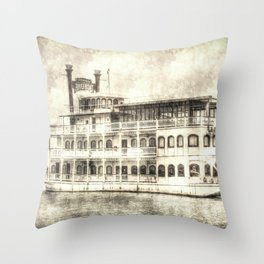 New Orleans Paddle Steamer Vintage Throw Pillow