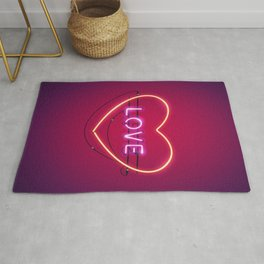 Pink Love in the Heart Neon Sign Rug
