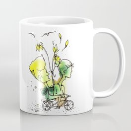 Two Heads One Body - Watercolor Illustration - Doodle - Ink - Bike Couple Coffee Mug