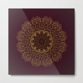Gold Mandala on Royal Red Background Metal Print