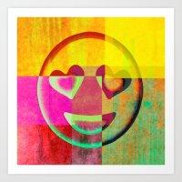 emoji Art Prints featuring Emoji cushion by Sw19Gallery